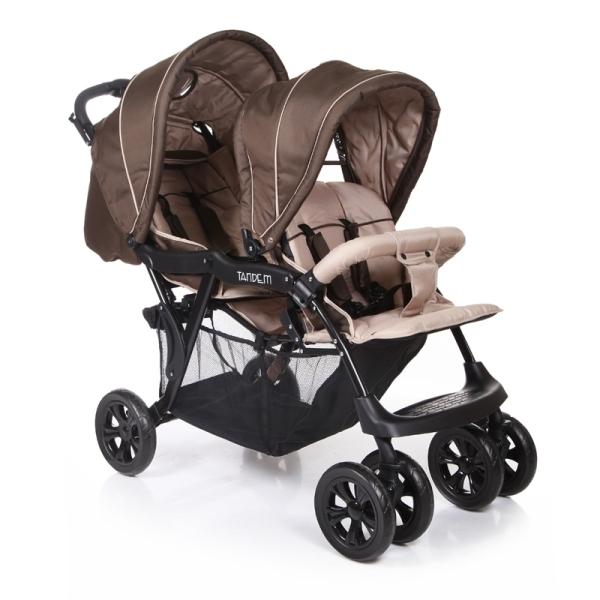 Прогулочная коляска Baby Care Tandem для двойни (коричневый)