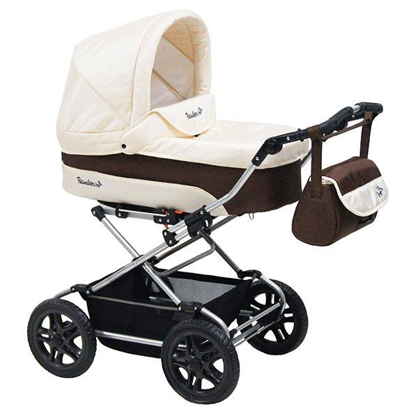 Детская коляска Reindeer Nova 3 в 1 (белый/коричневый)