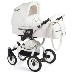 Детская коляска Reindeer City Lily 3 в 1, эко-кожа с конвертом (Белый)