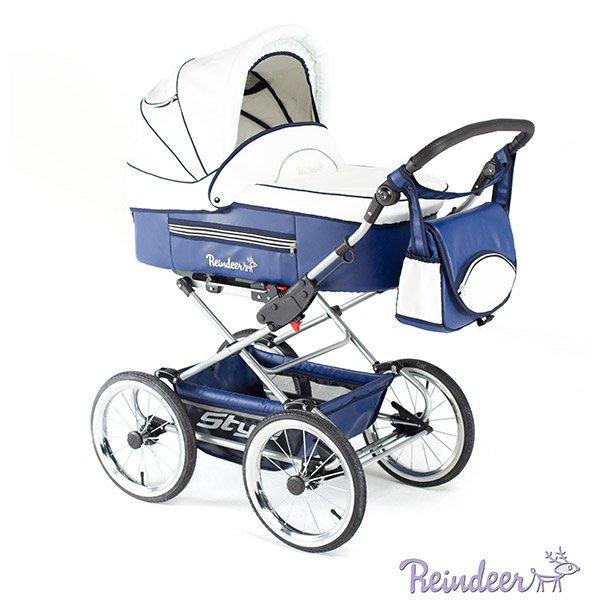 Детская коляска Reindeer Style Leather Collection 2 в 1, эко-кожа (белый/синий)
