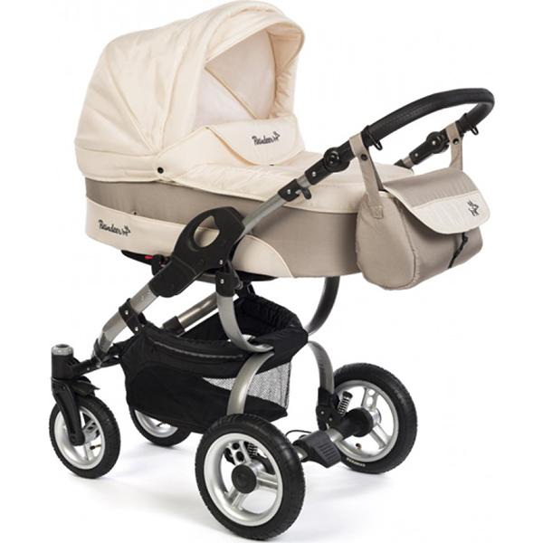 Детская коляска Reindeer City Nova 2 в 1, люлька+автокресло (Бежевый)