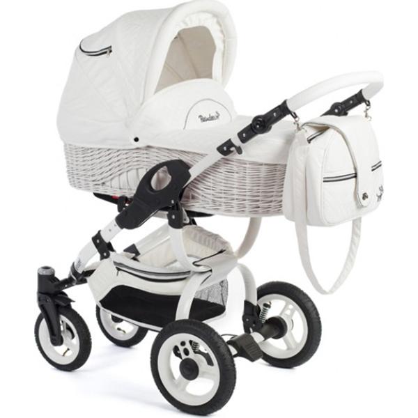Детская коляска Reindeer City Wiklina 2 в 1, эко-кожа, люлька+автокресло (Белый)