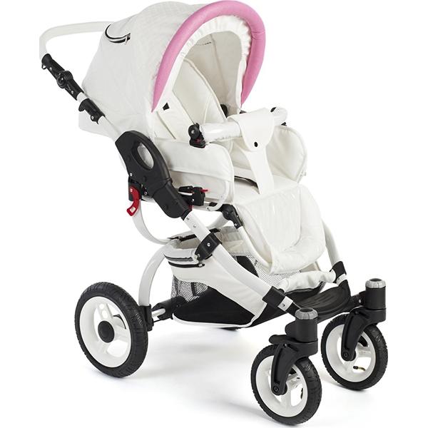 Детская коляска Reindeer City Wiklina 2 в 1, эко-кожа (Белый/голубой)