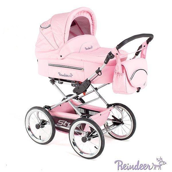 Детская коляска Reindeer Style Leather Collection 2 в 1, эко-кожа (розовый)