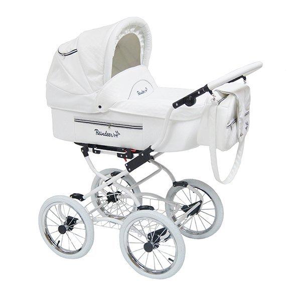 Детская коляска Reindeer Prestige Lily 2 в 1 с конвертом , эко-кожа, (белый)