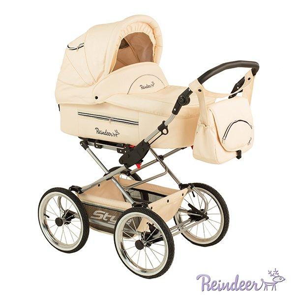 Детская коляска Reindeer Style Leather Collection 3 в 1 (кремовый)