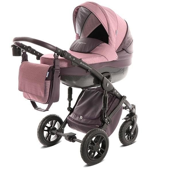 Детская коляска Noordline Stephania Combi 2 в 1, ткань+эко-кожа (розовый)