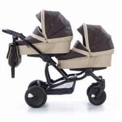 Детская коляска для двойни Tutis Terra 3 в 1 (Коричневый/бежевый)