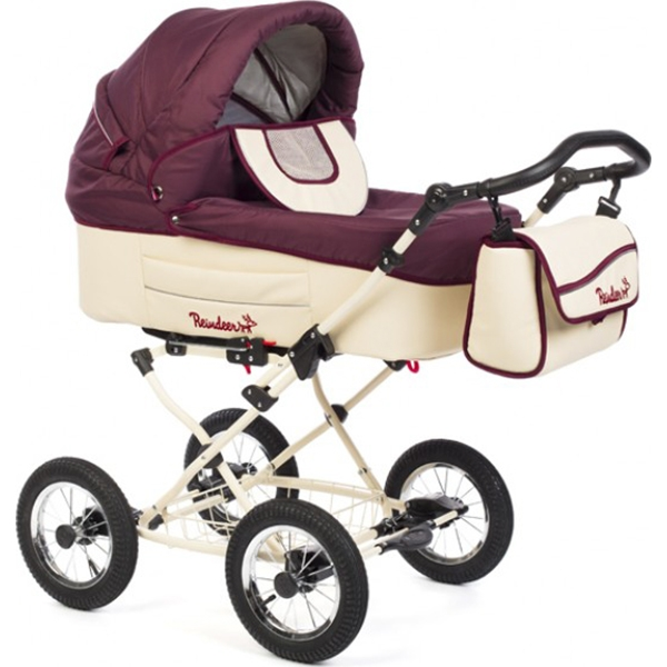 Детская коляска Reindeer Betta 2 в 1, ткань+эко-кожа (Бордовый/бежевый)
