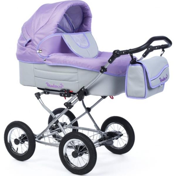 Детская коляска Reindeer Betta 2 в 1, ткань+эко-кожа (Фиолетовый/серый)