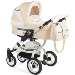 Детская коляска Reindeer City Lily 2 в 1, эко-кожа (Белый/бежевый)