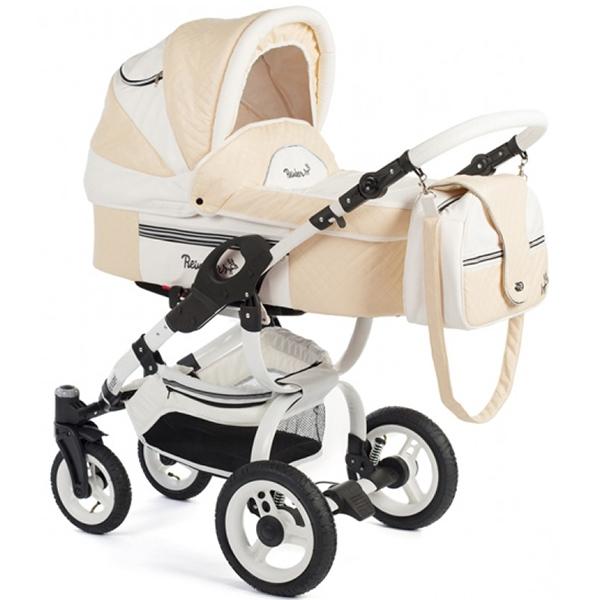 Детская коляска Reindeer City Lily 2 в 1, эко-кожа с конвертом (Белый/бежевый)