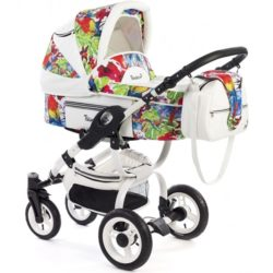 Детская коляска Reindeer City Lily 2 в 1, эко-кожа (Белый/разноцветный)