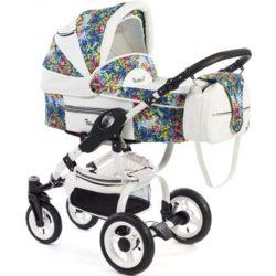 Детская коляска Reindeer City Lily 2 в 1, эко-кожа (Белый/с узором)