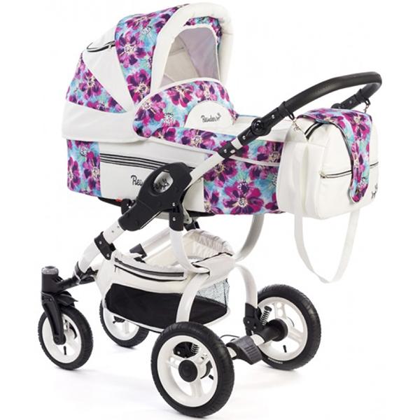 Детская коляска Reindeer City Lily 2 в 1, эко-кожа с конвертом (Белый/розовый)