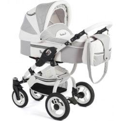 Детская коляска Reindeer City Lily 2 в 1, эко-кожа (Белый/серый)
