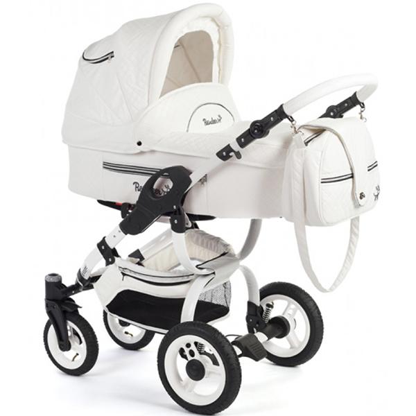Детская коляска Reindeer City Lily 2 в 1, эко-кожа, люлька+автокресло (Белый)