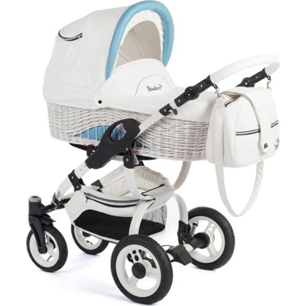 Детская коляска Reindeer City Wiklina 2 в 1, люлька+конверт (Белый/голубой)