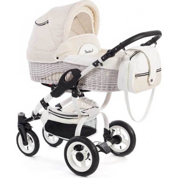 Детская коляска Reindeer City Wiklina 2 в 1, эко-кожа, люлька+автокресло (Белый/бежевый)