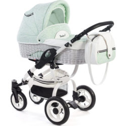 Детская коляска Reindeer City Wiklina 2 в 1, эко-кожа (Бирюзовый)