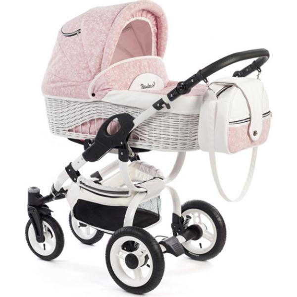 Детская коляска Reindeer City Wiklina 2 в 1, эко-кожа, люлька+автокресло (Розовый)