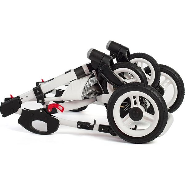 Детская коляска-люлька Reindeer City Lily люлька+автокресло, эко-кожа (Белый)