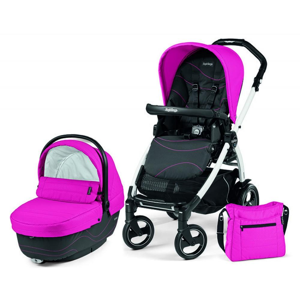 Детская коляска Peg-Perego Book 51 XL Modular 3 в 1 (розовый/черный)