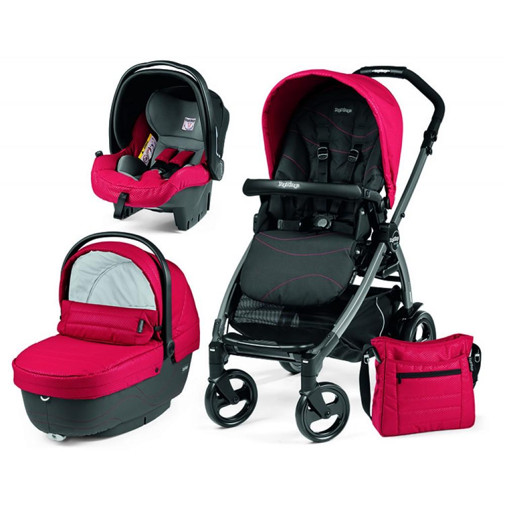 Детская коляска Peg-Perego Book 51 XL Modular 3 в 1 (красный/черный)