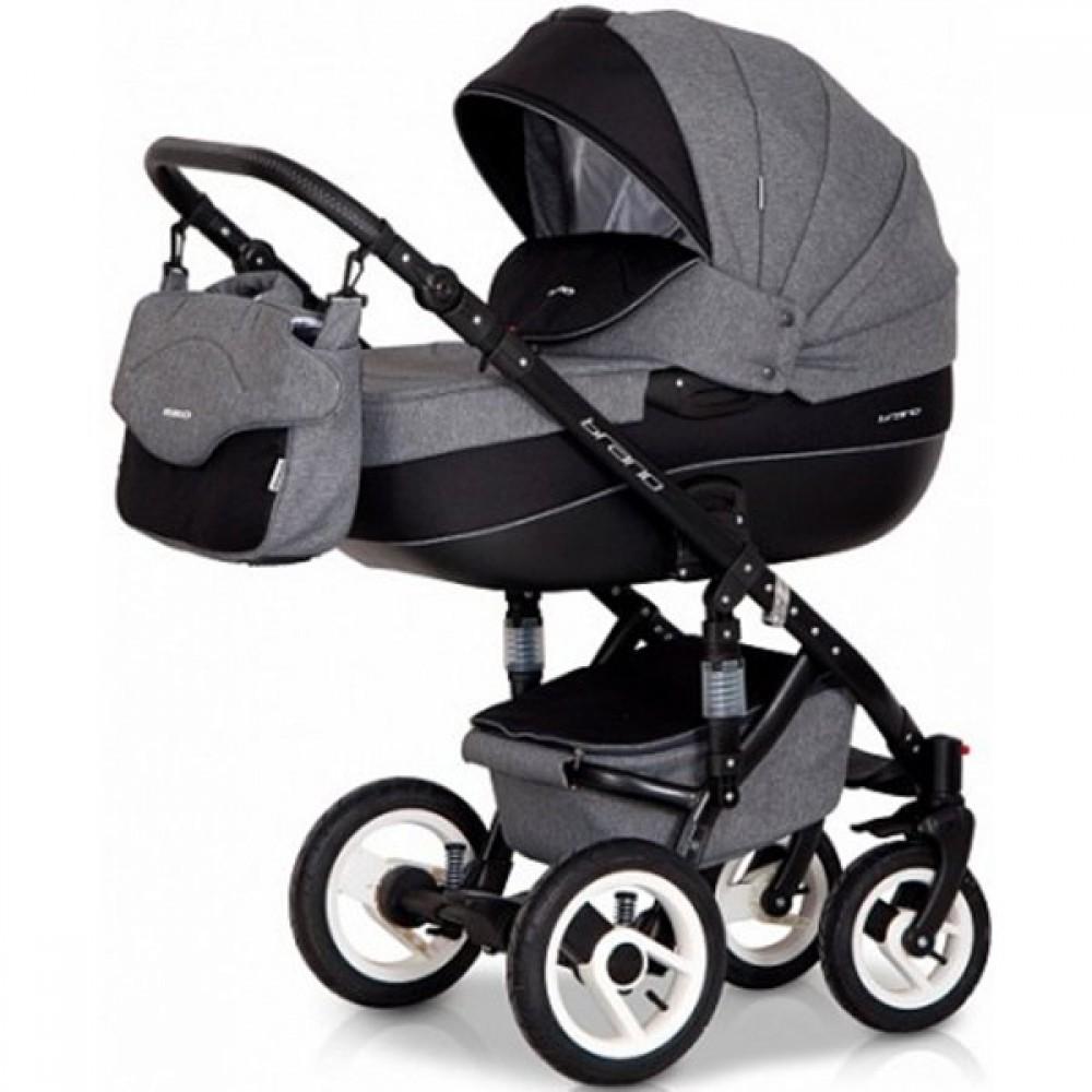 Детская коляска Riko brano 3 в 1 (Серый/черный)