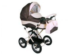 Детская коляска LONEX CARROZZA 2 В 1 (Коричневый/розовый)