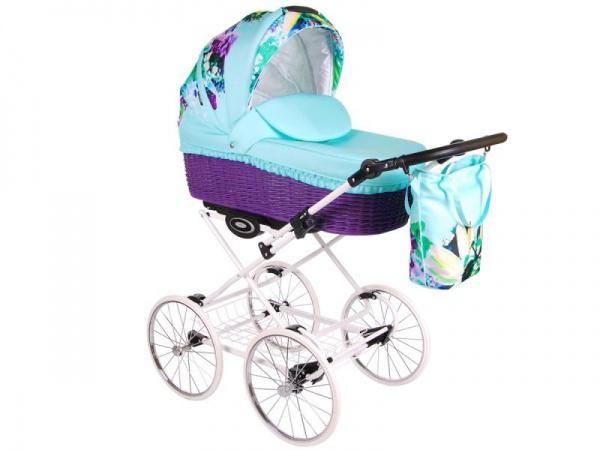 Детская коляска LONEX CLASSIC GARDEN 2 В 1 (голубой/фиолетовый)