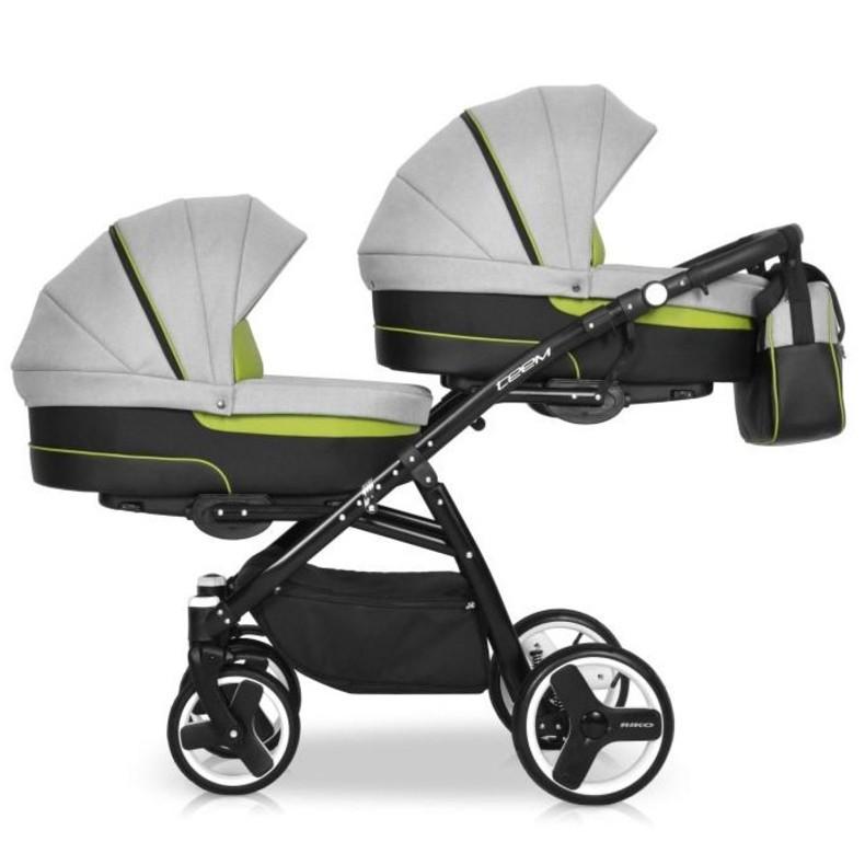 Детская коляска для двойни Riko Team 2 в 1 (Серый/Зеленый)