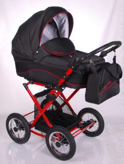 Детская коляска LONEX CARROZZA 2 В 1 (черный/красный)