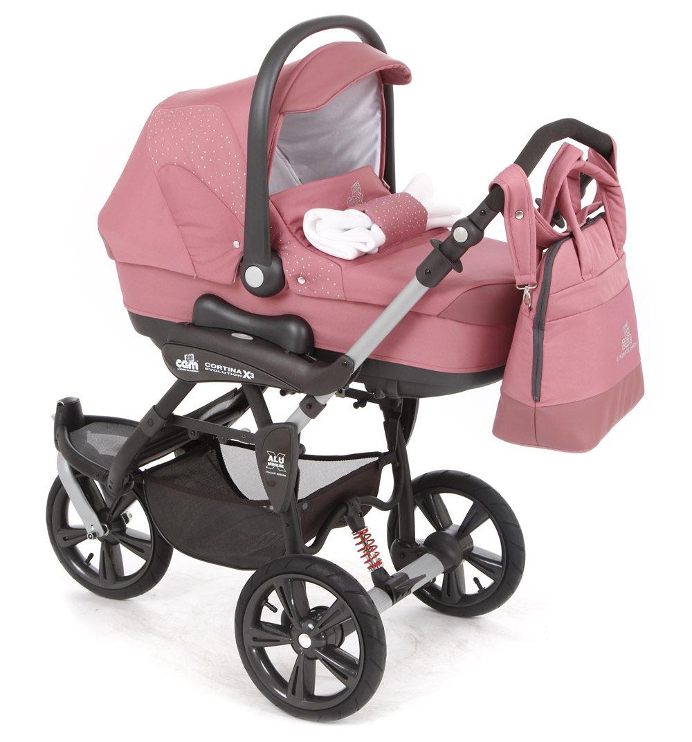 Детская коляска CAM Cortina Evolution X3 Tris 3 в 1 (розовый)