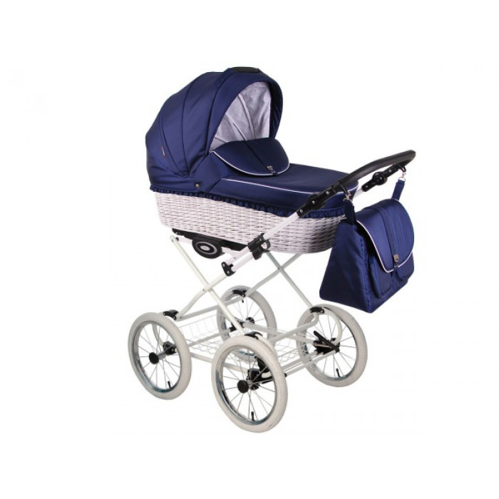 Детская коляска LONEX CLASSIC RETRO WHITE 3 в 1 (синий)