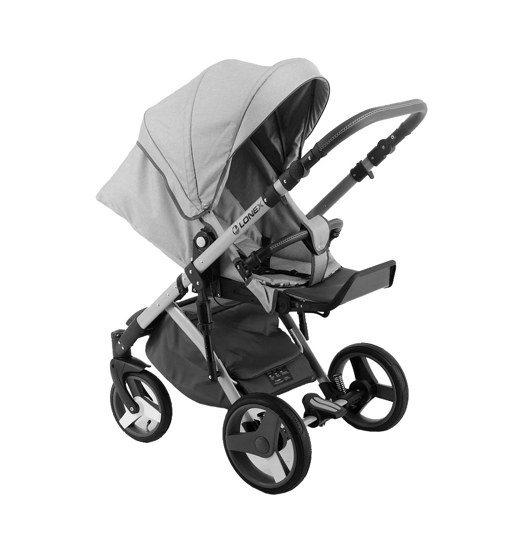 Детская коляска LONEX COMFORT PRESTIGE (LEN) 3 В 1 (светло-серый)