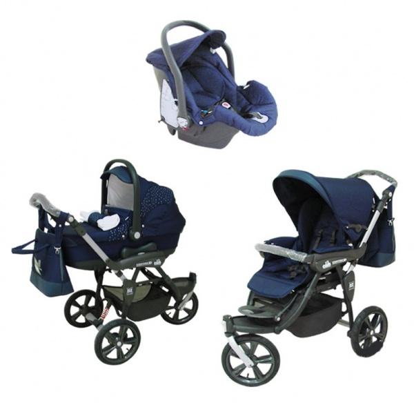 Детская коляска Cortina X3 Tris Evolution 3 в 1 (синий)