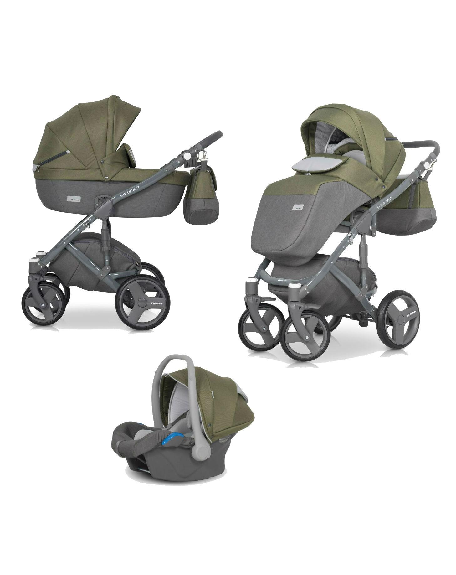 Детская коляска Riko Vario 3 в 1 (Серый/зеленый)