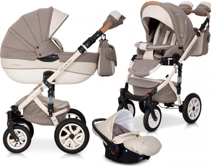 Детская коляска Riko brano ecco 3 в 1 (Бежевый/белый)