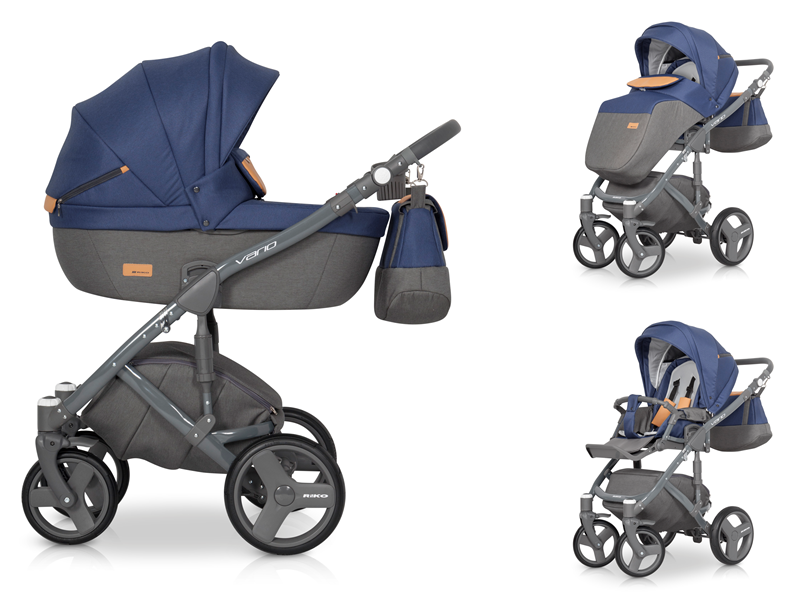 Детская коляска Riko Vario 3 в 1 (Серый/синий)