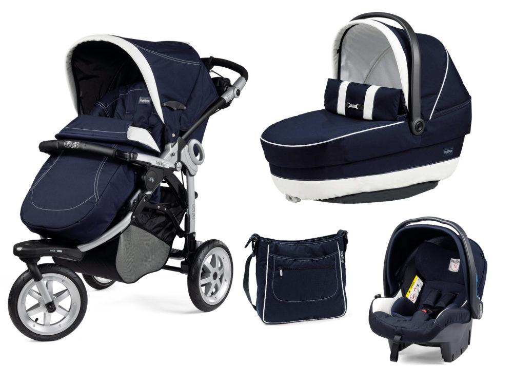 Детская коляска Peg-Perego GT3 Completo Modular system 3 в 1 (Белый/синий)