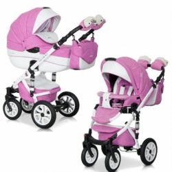 Детская коляска Riko brano ecco 3 в 1 (Розовый/белый)