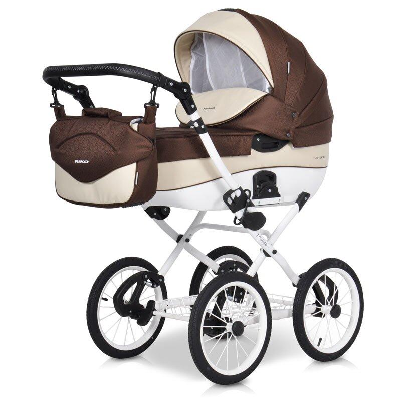 Детская коляска Riko Brano Ecco Prestige 2 в 1 (Коричневый/белый)