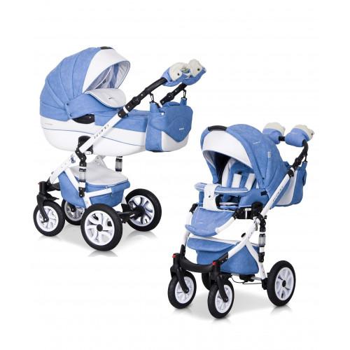 Детская коляска Riko brano ecco 3 в 1 (Голубой/белый)