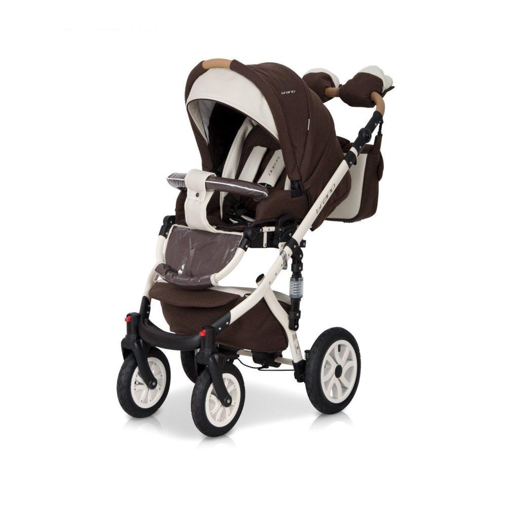 Детская коляска Riko brano ecco 3 в 1 (Коричневый/белый)