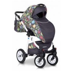 Детская коляска Riko Nano Flower Collection 3 в 1 (Серый)