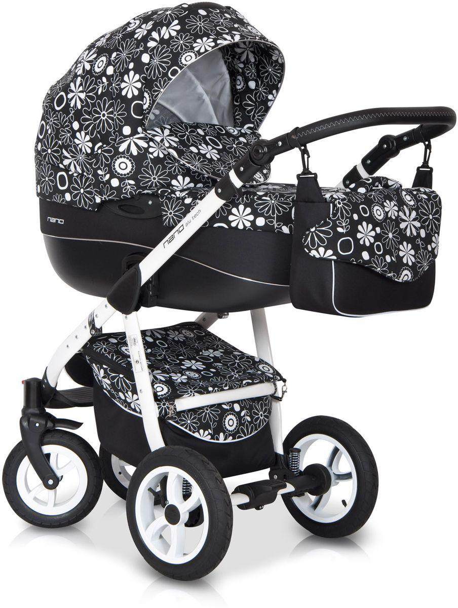 Детская коляска Riko Nano Flower Collection 3 в 1 (Черный)