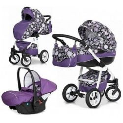 Детская коляска Riko Nano Flower Collection 3 в 1 (Фиолетовый)