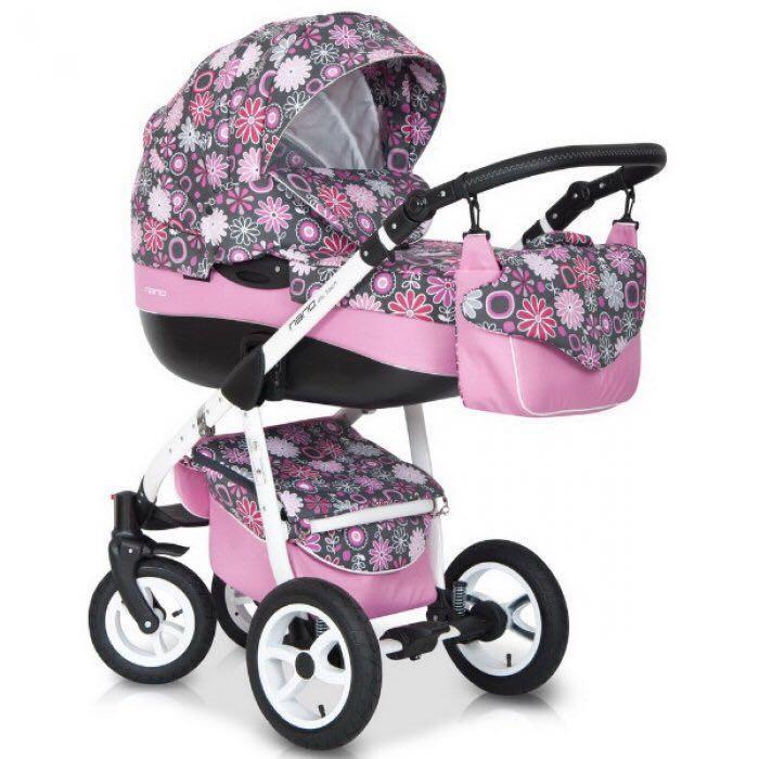 Детская коляска Riko Nano Flower Collection 3 в 1 (Розовый)