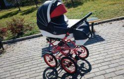 Детская коляска Esperanza Classic Crown 2 в 1 (100% Эко-кожа) (синий/белый)